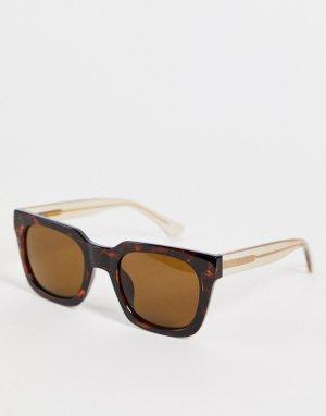 Квадратные солнцезащитные очки унисекс в стиле 70-х темно-коричневой леопардовой оправе Nancy-Коричневый цвет A.Kjaerbede