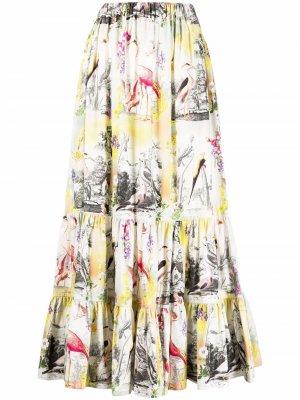 Юбка макси с вышивкой ETRO. Цвет: белый