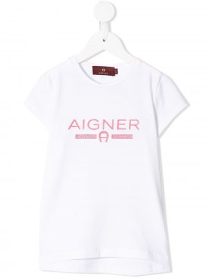 Футболка с логотипом Aigner Kids. Цвет: белый