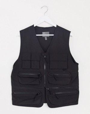 Черный жилет с отстегиваемой вставкой на молнии -Черный цвет ASOS DESIGN