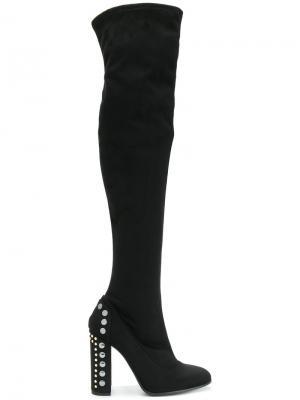 Ботфорты с декором на каблуке Fabi. Цвет: черный