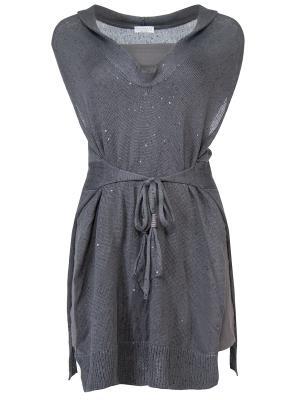 Текстильная туника BRUNELLO CUCINELLI. Цвет: серый