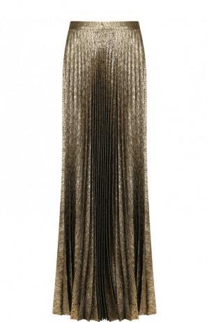 Плиссированная юбка-макси из шелка Saint Laurent. Цвет: золотой