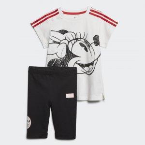 Летний комплект: платье и леггинсы Minnie Mouse Performance adidas. Цвет: красный