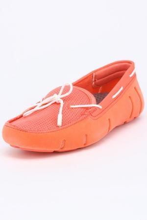 Мокасины Swims. Цвет: коралловый с белыми шнурками