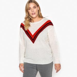 Пуловер с круглым вырезом из тонкого трикотажа, V-образные полоски CASTALUNA. Цвет: экрю