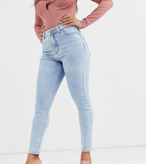 Голубые выбеленные зауженные джинсы с завышенной талией ASOS DESIGN Petite Ridley-Синий