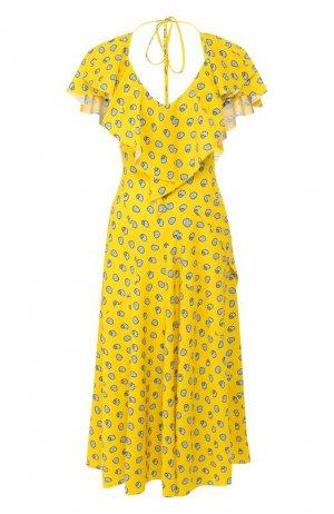 Платье-миди Lanvin. Цвет: жёлтый