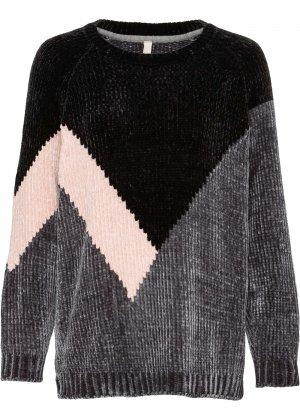 Пуловер из шенили bonprix. Цвет: черный