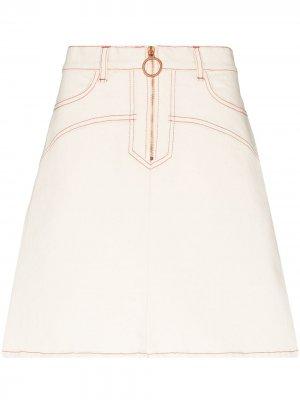 Джинсовая юбка мини с завышенной талией See by Chloé. Цвет: нейтральные цвета