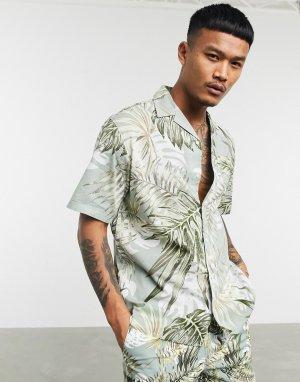 Зеленая рубашка от комплекта с короткими рукавами и цветочным принтом Originals-Зеленый Jack & Jones