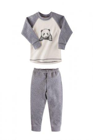 Пижама Наша Мама. Цвет: серый, молочный, панда