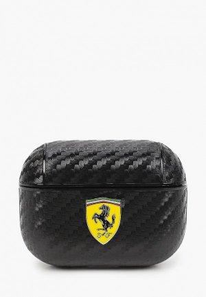 Чехол для наушников Ferrari Airpods Pro, PU carbon effect with metal logo Black. Цвет: черный