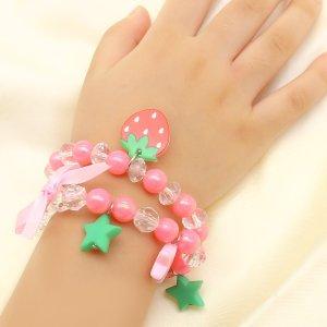 2шт Браслет-шарм для девочек с декором клубники и звезды SHEIN. Цвет: многоцветный