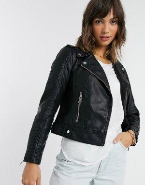 Черная кожаная куртка с отделкой на плече -Черный цвет Vero Moda
