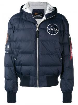Дутая куртка-бомбер Alpha Industries. Цвет: синий