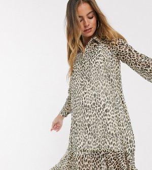 Коричневое платье-рубашка с леопардовым принтом -Коричневый River Island Petite