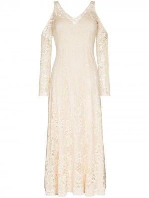Кружевное платье макси Frances Rejina Pyo. Цвет: нейтральные цвета