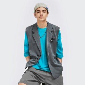 Асимметричный Ровный цвет Повседневный Мужские блейзеры SHEIN. Цвет: серый