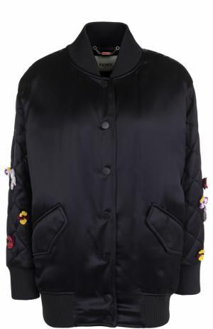 Бомбер с контрастной вышивкой на спинке Fendi. Цвет: черный