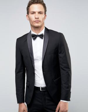 Супероблегающий пиджак-смокинг Selected Homme. Цвет: черный