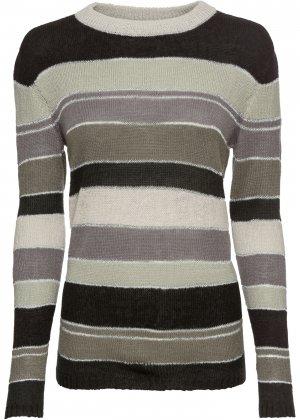 Пуловер вязаный в полоску bonprix. Цвет: черный