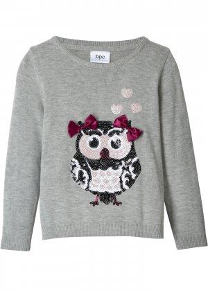 Пуловер с пайетками для девочки bonprix. Цвет: серый