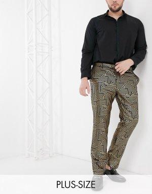Брюки от костюма из черного бархата с фольгированным золотистым геометрическим принтом PLUS-Золотой Twisted Tailor