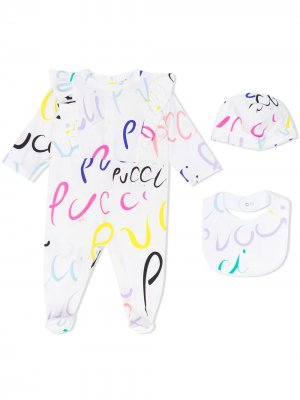 Комплект из пижамы, шапки и нагрудника Emilio Pucci Junior. Цвет: белый