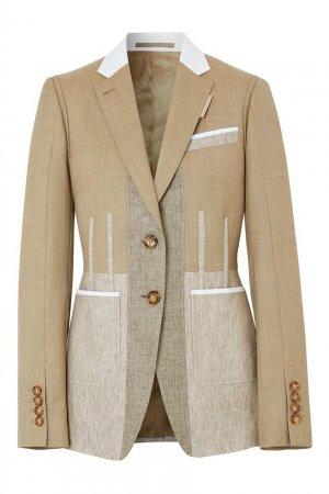 Комбинированный приталенный пиджак Burberry. Цвет: бежевый