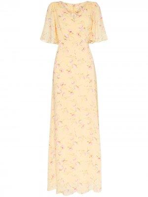 Платье макси Poppies с запахом byTiMo. Цвет: желтый