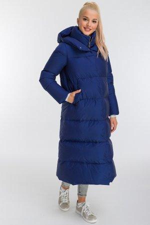 Длинный модный пуховик АДД с капюшоном ADD. Цвет: синий
