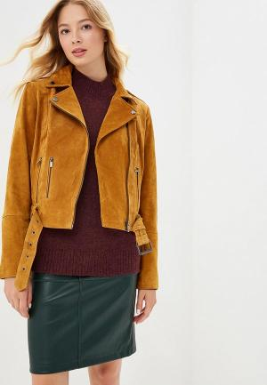 Куртка кожаная Vila VI004EWBWVQ9. Цвет: коричневый