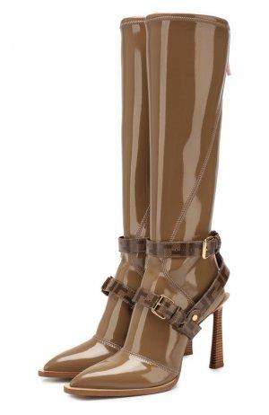 Текстильные сапоги Fendi. Цвет: бежевый