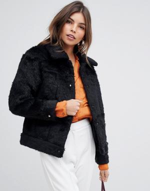 Куртка из искусственного меха с добавлением шерсти -Черный Jayley