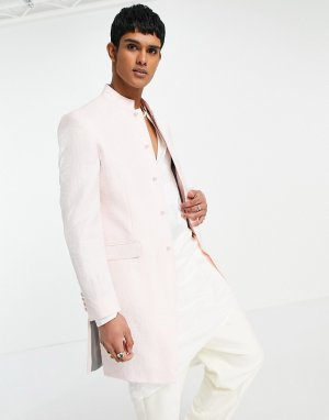 Розовый длинный пиджак шервани узкого кроя с воротником-стойкой Wedding Sherwani-Розовый цвет ASOS DESIGN