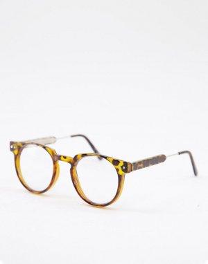 Круглые очки в стиле унисекс с черепаховой оправой и прозрачными стеклами Teddy Boy-Коричневый цвет Spitfire