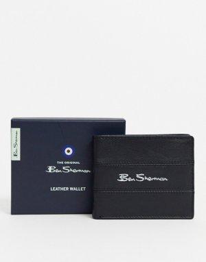 Кожаный бумажник с RFID-чипом -Черный Ben Sherman