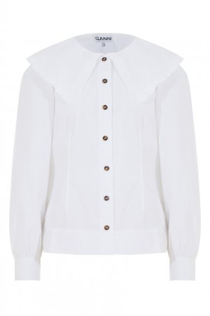 Белая блузка из хлопка Ganni. Цвет: белый