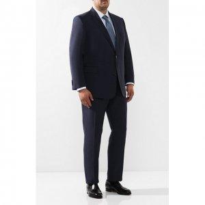 Шерстяной костюм с пиджаком на двух пуговицах Eduard Dressler. Цвет: синий
