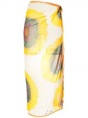 Саронг с цветочным принтом Amir Slama. Цвет: желтый