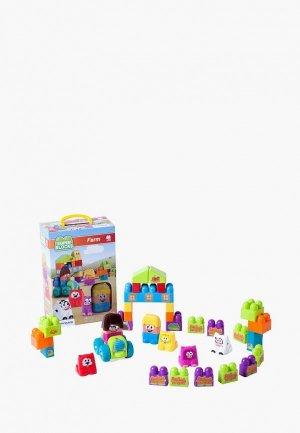Конструктор Miniland блочный Ферма Super Blocks Farm (38 деталей) в чемоданчике. Цвет: разноцветный