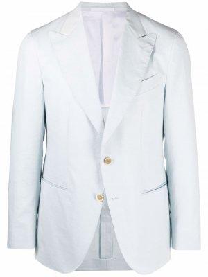 Однобортный пиджак в полоску Caruso. Цвет: синий