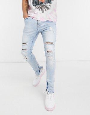 Светло-голубые супероблегающие рваные джинсы -Голубой Bershka