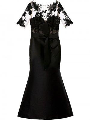 Платье с прозрачной вставкой Badgley Mischka. Цвет: черный