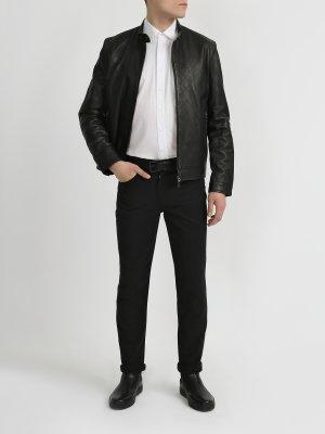 Кожаная куртка Alessandro Manzoni. Цвет: chernyy