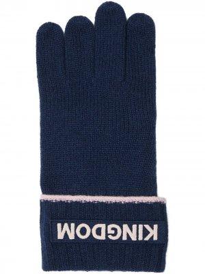 Перчатки с нашивкой-логотипом Burberry. Цвет: синий