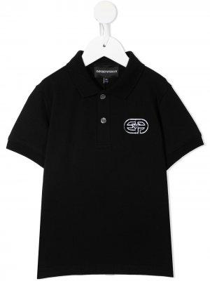 Рубашка поло с логотипом Emporio Armani Kids. Цвет: черный