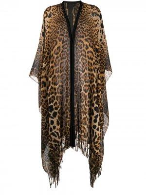Пончо с леопардовым принтом Saint Laurent. Цвет: коричневый