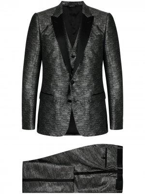 Костюм с эффектом металлик Dolce & Gabbana. Цвет: серебристый